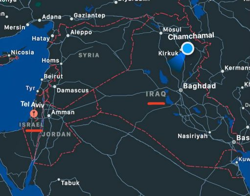 This image shows location of Chamchamal and Israel on the map.