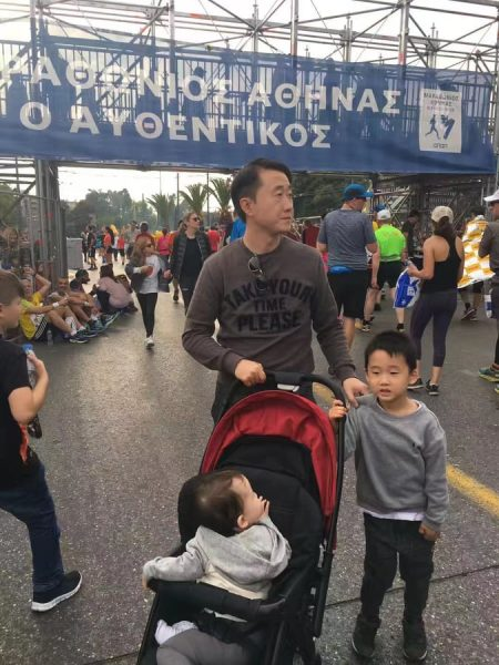 Mr. Wang and his two children in Athens